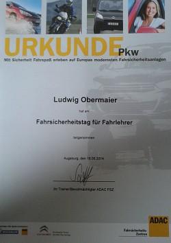 ADAC Urkunde Ludwig 16.5.14